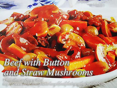 Beef with Button and Straw Mushrooms