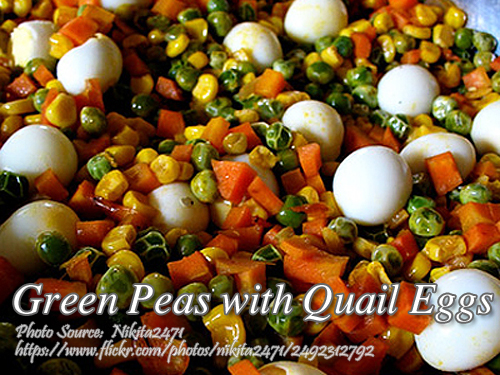 Green Peas with Quail Eggs