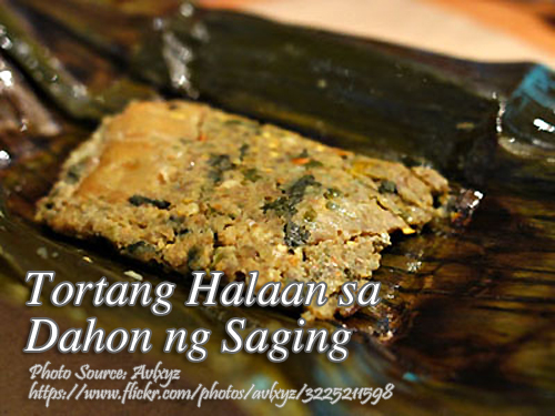 Tortang Halaan sa Dahon ng Saging (Clam Omelette in Banana Leaves)